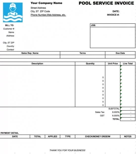 Free Pool Service Invoice Template Excel PDF Word (doc)