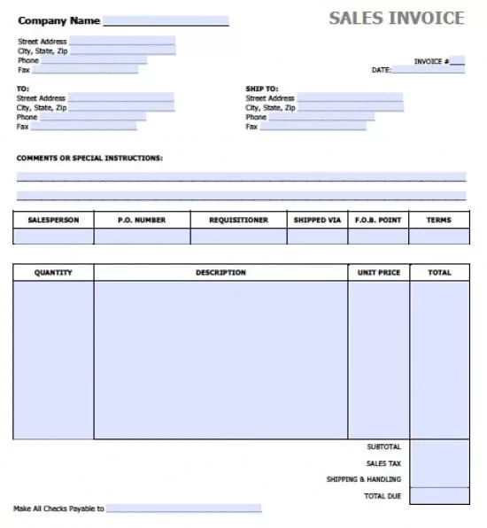 Free Sales Invoice Template Excel PDF Word (doc) - invoice template for microsoft word