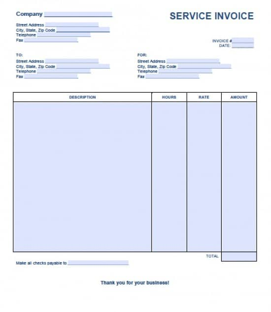 Free Service Invoice Template Excel PDF Word (doc) - Invoice For Services Template Free
