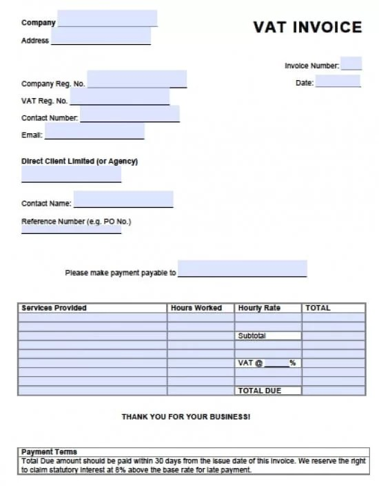 Free Value Added Tax (VAT) Invoice Template Excel PDF Word (doc) - Template For Invoice In Excel