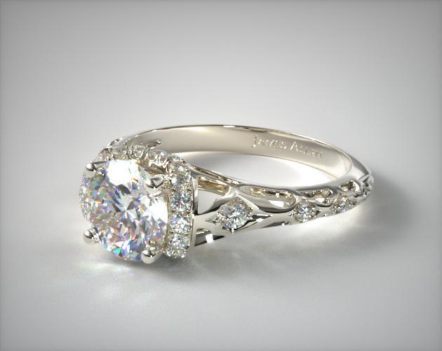 Enchanted Filigree Engagement Ring 14k White Gold 17680w14