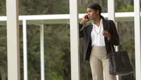 A business woman on her cell phone