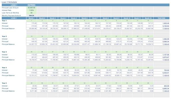 Amortization Schedule ION FreshStart \u2013 Advanced Business Planning