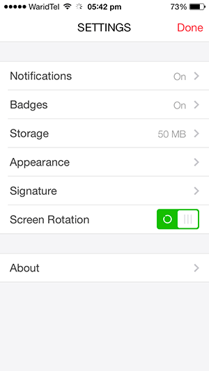 myMail settings