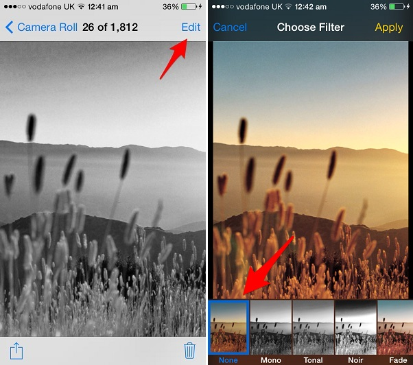 remove filters iOS how to