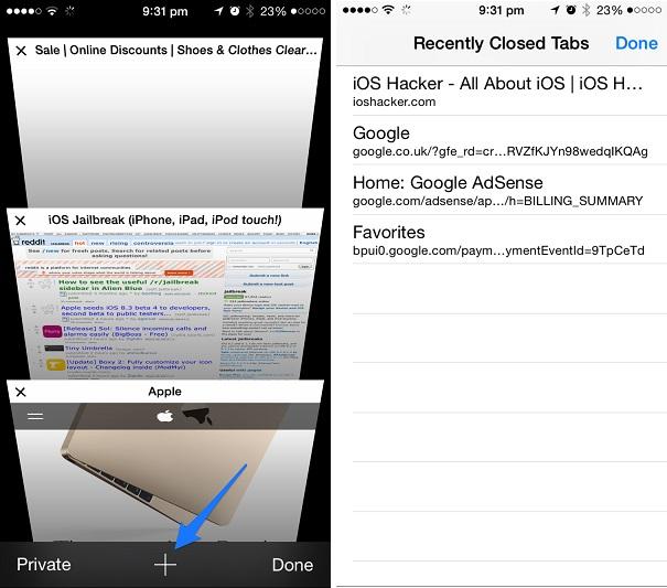 Recently Closed tabs iOS safari