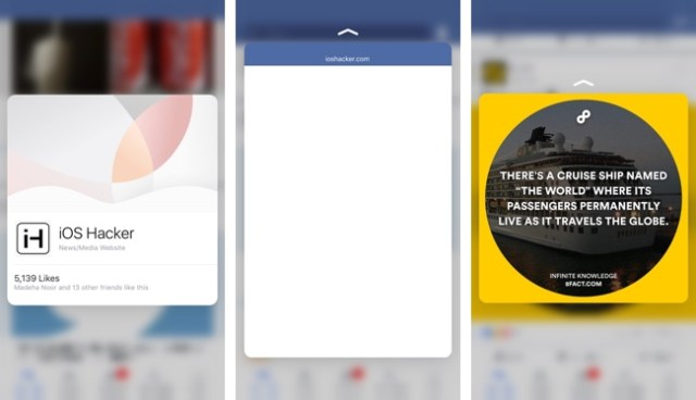 Facebook 3D Touch iOS