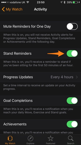 Watch Stand reminders