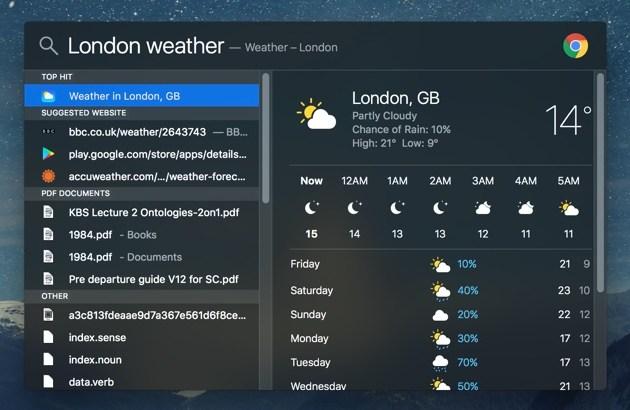 Spotlight weather mac