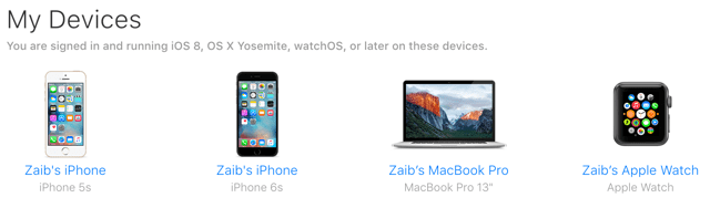 My Devices iCloud