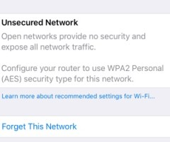 Unsecured Network iOS 10