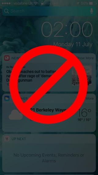 No Widgets Lockscreen iOS 10