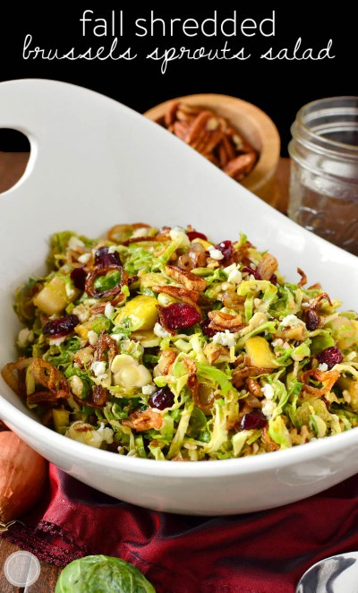 Fall Shredded Brussels Sprouts Salad (Video) - Iowa Girl Eats