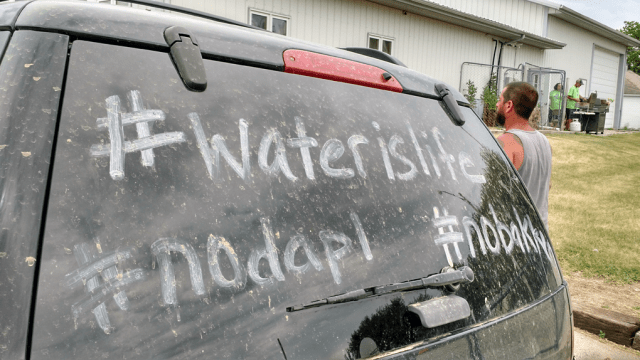 Outside the community center in Pilot Mound. Photo: Gavin Aronsen/Iowa Informer