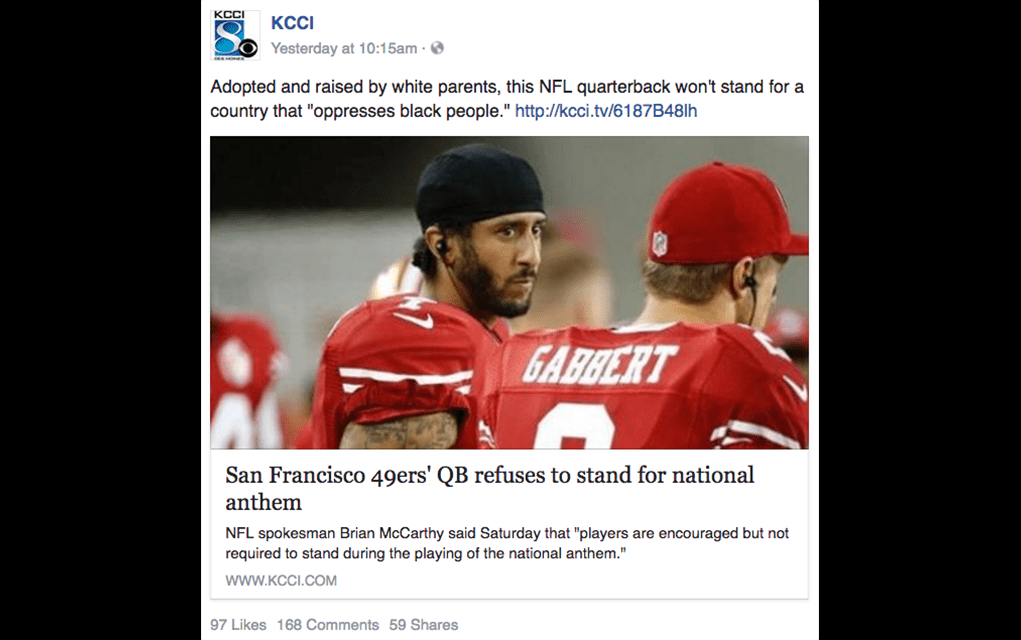 KCCI's Racist Response to Colin Kaepernick's National Anthem Protest