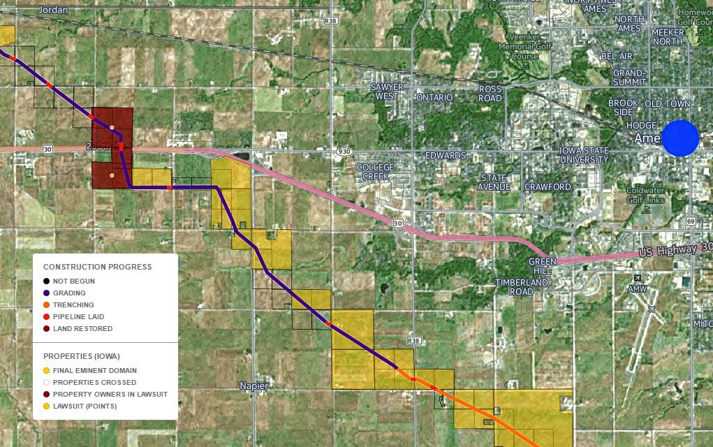 Dakota Access Pipeline Iowa Map.Map The Dakota Access Pipeline S Current Construction Progress From