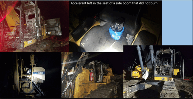 "Scenes from a construction equipment fire in Buena Vista county reportedly set with ""coffee cans filled with oil and varnish,"" which TigerSwan determined wasn't likely caused by any of the main protest groups in the state after conferring with the Iowa fusion center. Photos: TigerSwan via The Intercept"