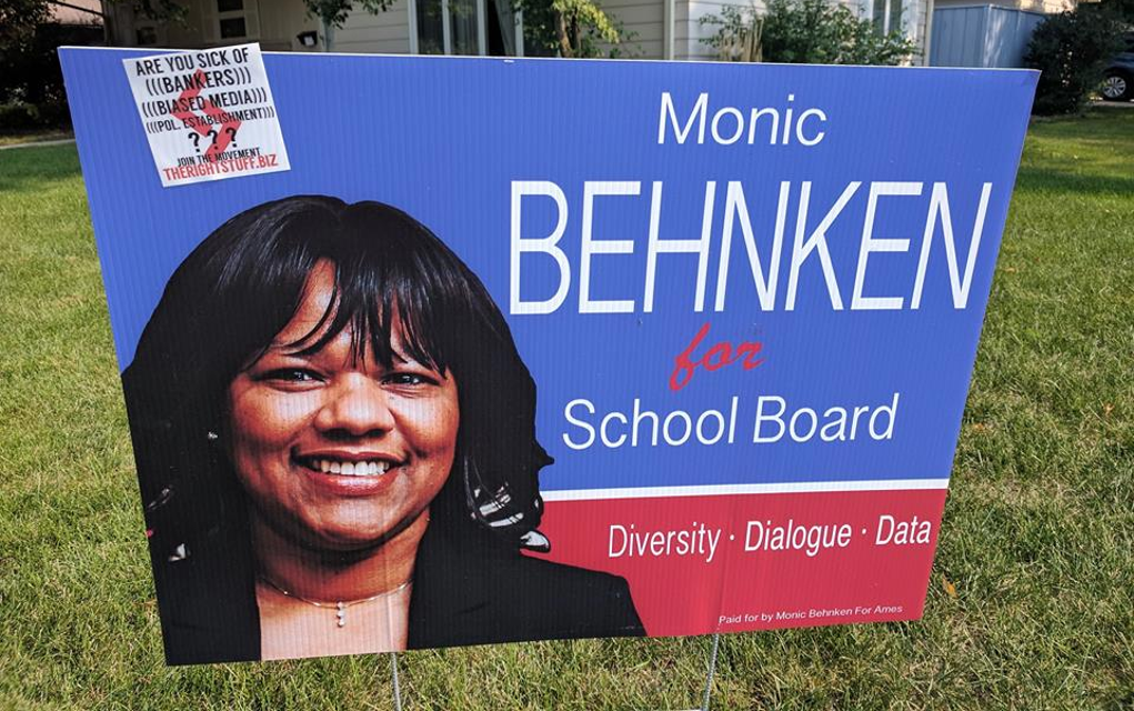 Neo-Nazi Propaganda Hits Ames Again, This Time on School Board Candidate's Yard Sign