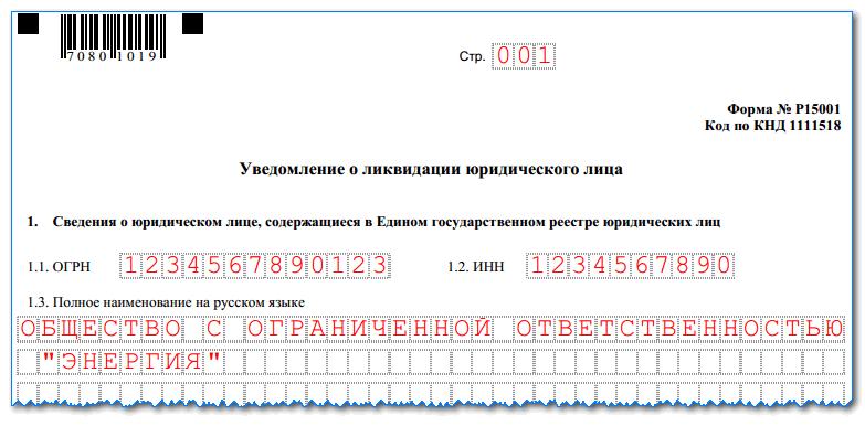 порядок заполнения формы р15001 при ликвидации ооо Больше увидите