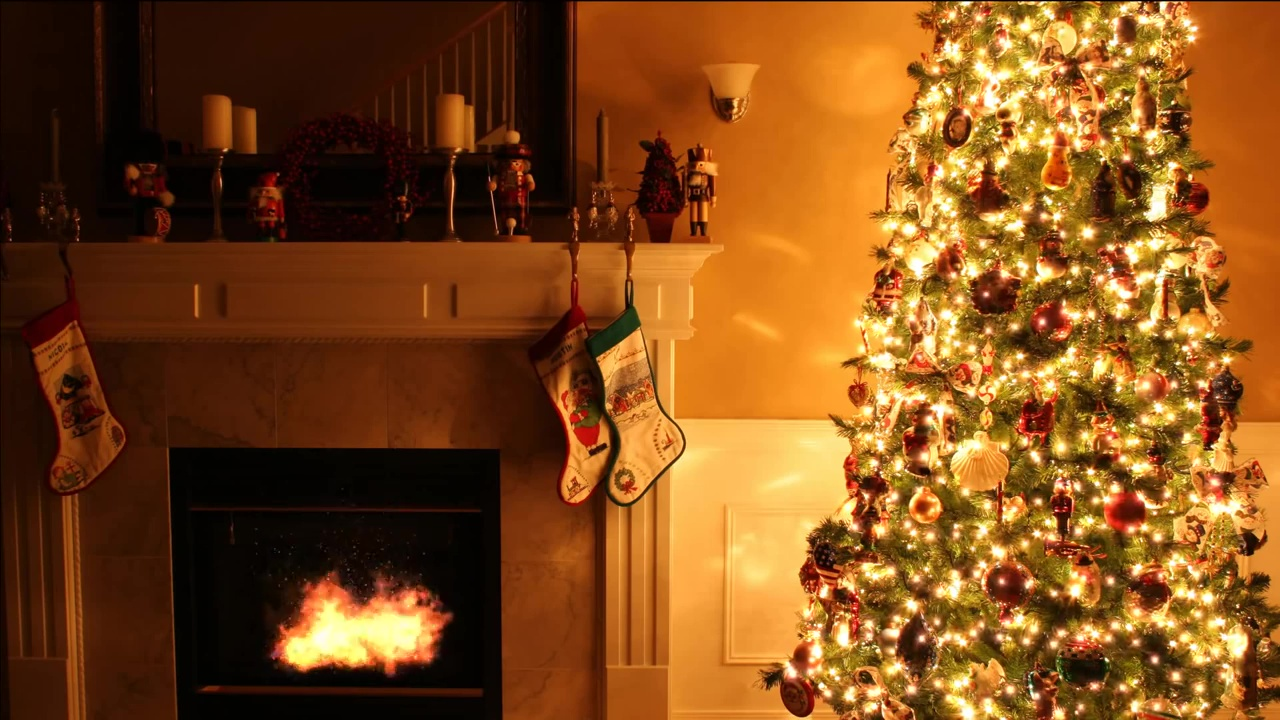 Christmas Fireplace Wallpaper Christmas Fireplace Scene Happy Family Man Woman Parents And Kids