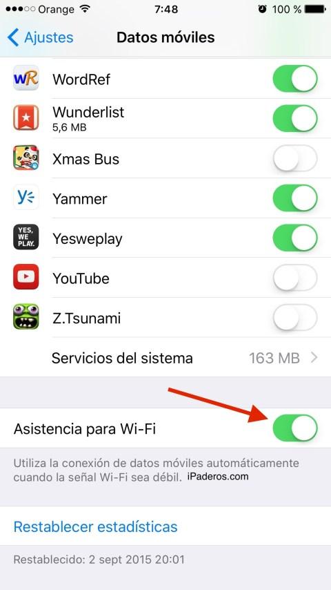 asistencia wifi iOS 9