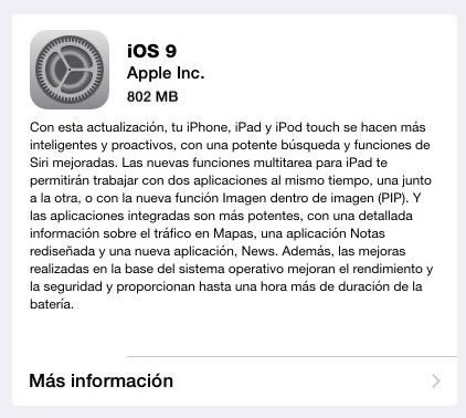 iOS 9 archivo instalación