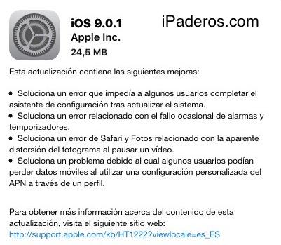 iOS 9.0.1 actualización