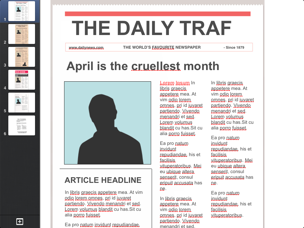 front page newspaper article template
