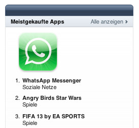 WhatsApp in den Chart bei Apple