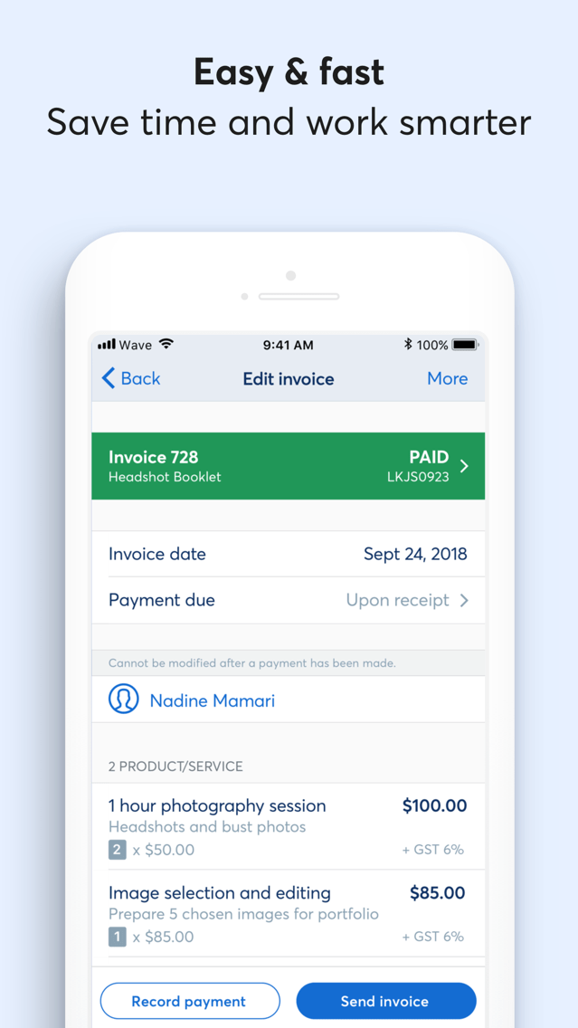 Invoice by Wave App for iPhone - Free Download Invoice by Wave for