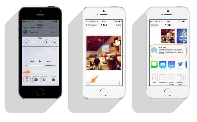 ativar air drop no iphone iOS 7