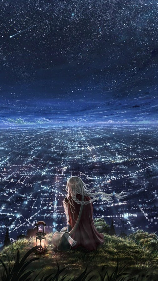 Wallpaper Download Alone Girl Anime World Beautiful Girl Sky Iphone Wallpaper Iphone