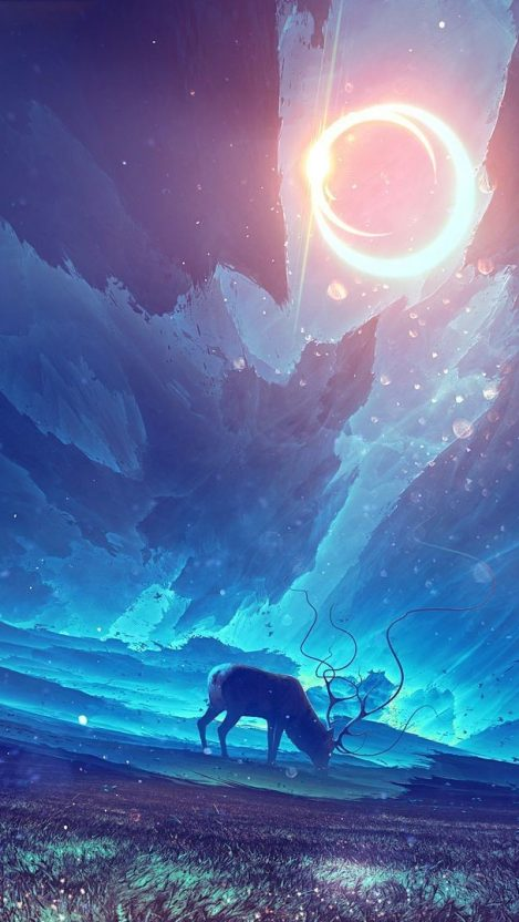Animal Planet Wallpaper Hd Reindeer Forest Night Stars Digital Art Iphone Wallpaper