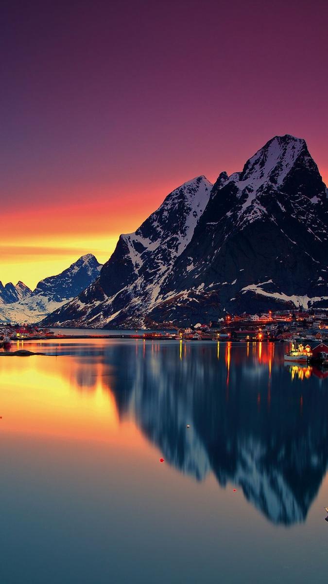 Fall Dual Monitor Wallpaper Mountain Lofoten Norway Sky Sea Lofoten Islands Iphone