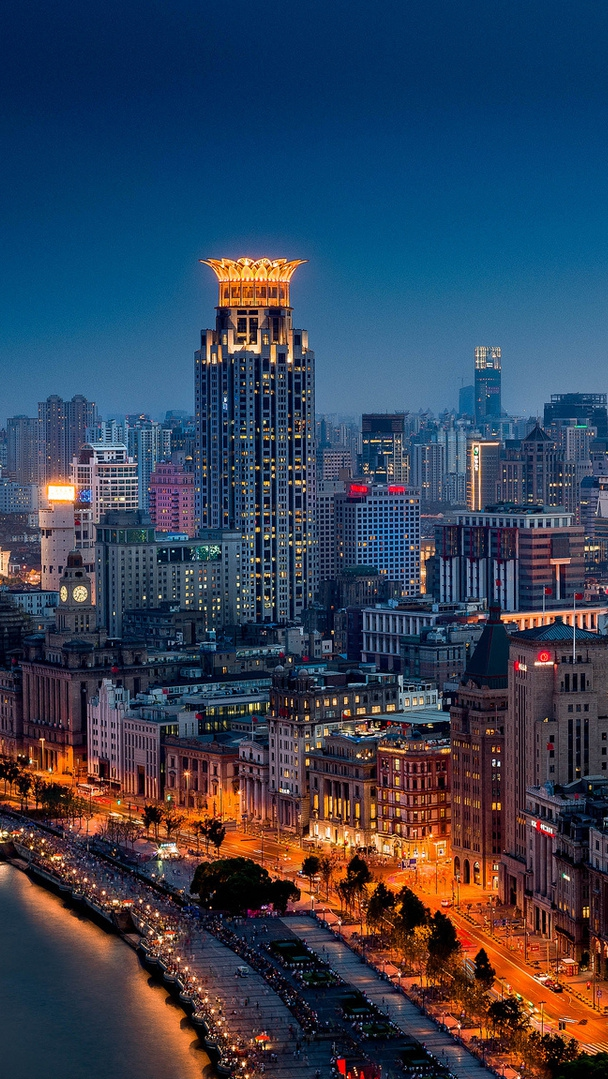Cute Wallpaper For Phone Hd Huangpu Shanghai China Night City Buildings Iphone