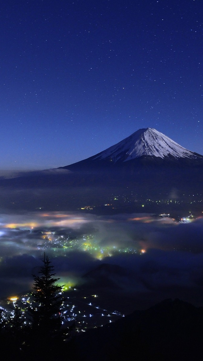Cool Wallpapers For Iphone Girls Mount Fuji Japan Night View Iphone Wallpaper Iphone