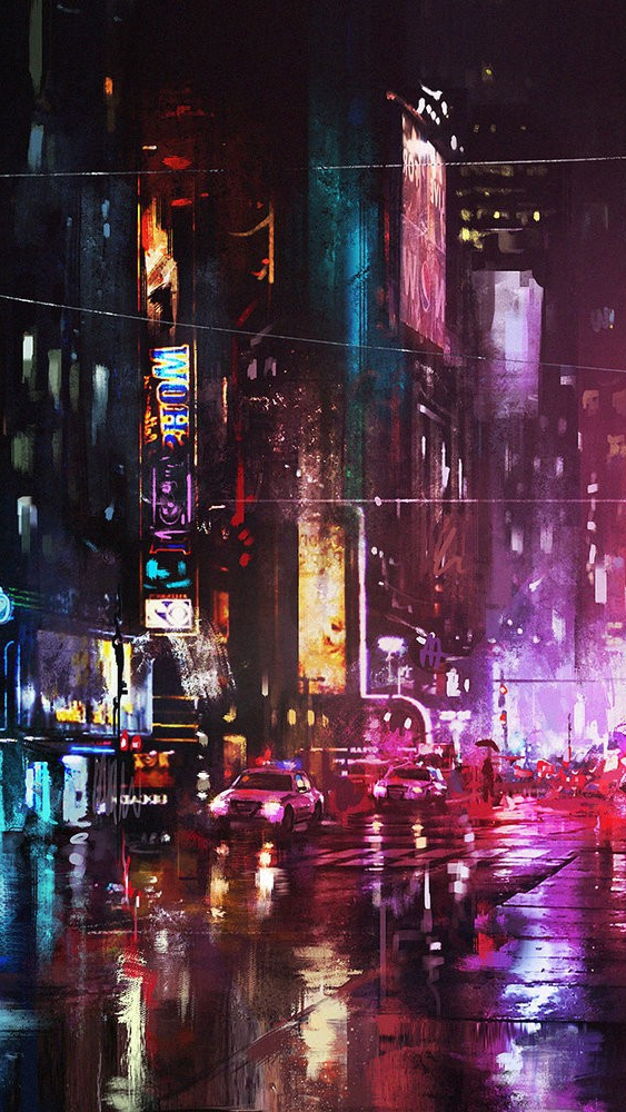 Retro Anime Girl Wallpaper Oil Painting New York City In Night Iphone Wallpaper
