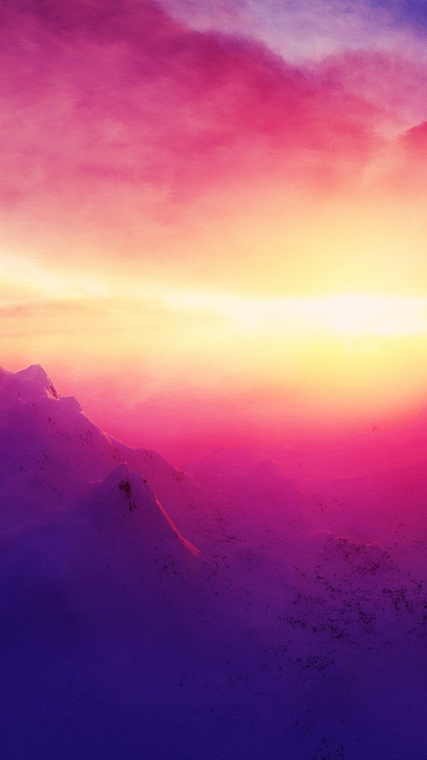 Snow Anime Wallpaper Pink Sunrise Mountains Iphone Wallpaper Iphone Wallpapers