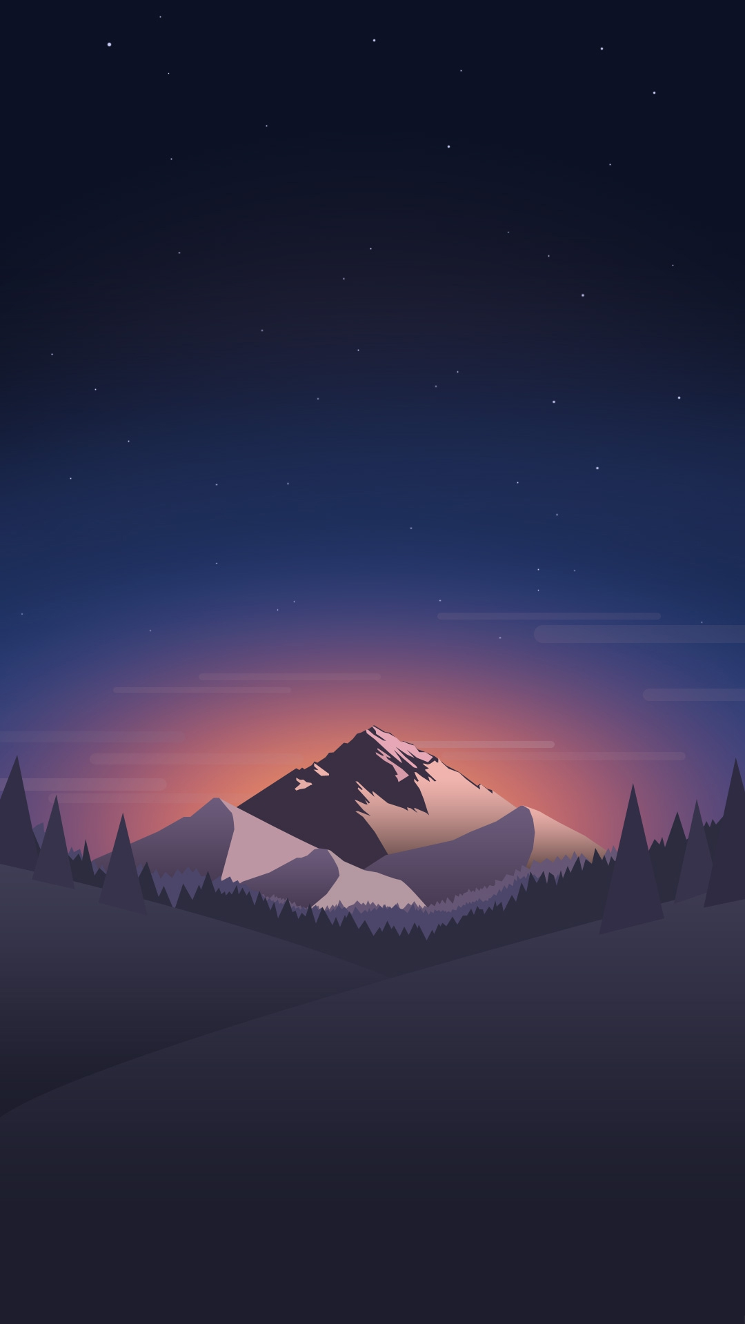 Cute Mobile Wallpaper For Samsung Galaxy Y Digital Minimal Mountains Forest Night Iphone Wallpaper