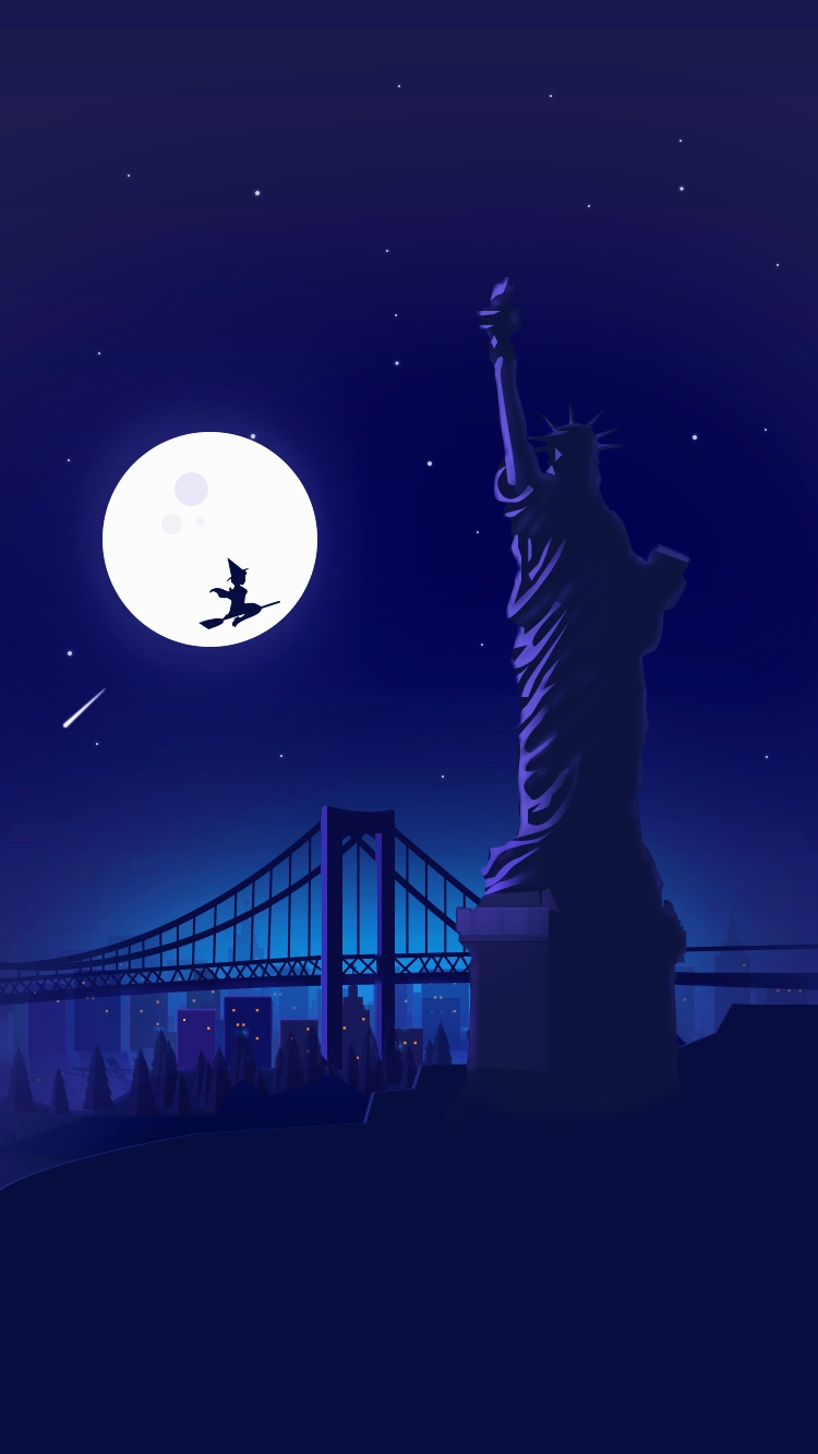 Cute Kitten Wallpaper For Ipad Halloween Witch At Statue Of Liberty Holloween Night Moon