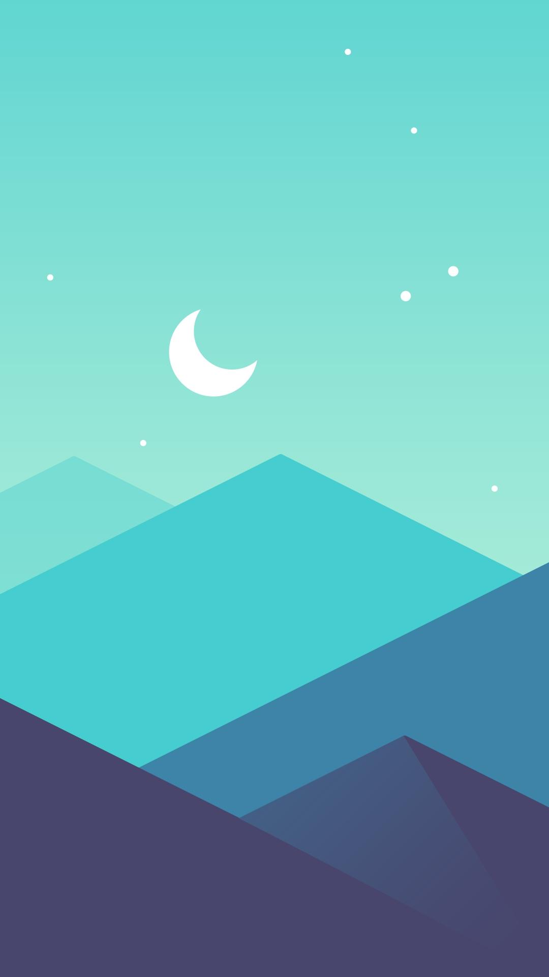 Light Green Iphone Wallpaper Minimal Mountains Moon Iphone Wallpaper Iphone Wallpapers