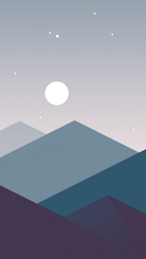 Low Poly Iphone X Wallpaper Minimalistic Mountains Night Moon Iphone Wallpaper