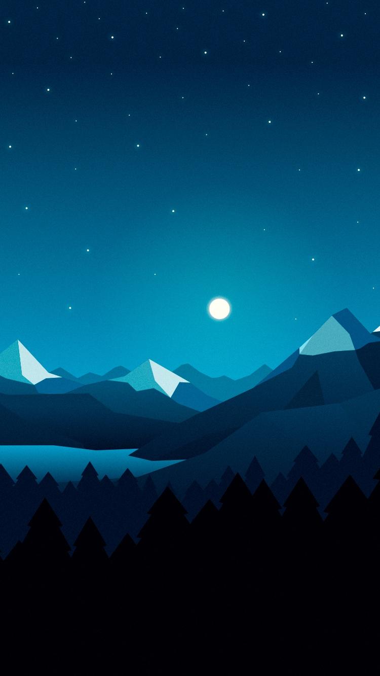 Cute Christmas Cartoon Wallpaper Moon Over Mountains Stars Digital Art Iphone Wallpaper