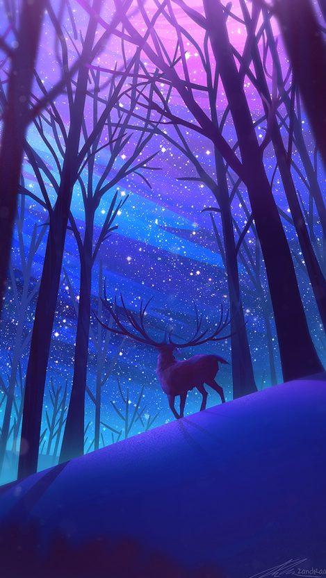 Wallpaper Anime Girl Cool Reindeer Forest Night Stars Digital Art Iphone Wallpaper