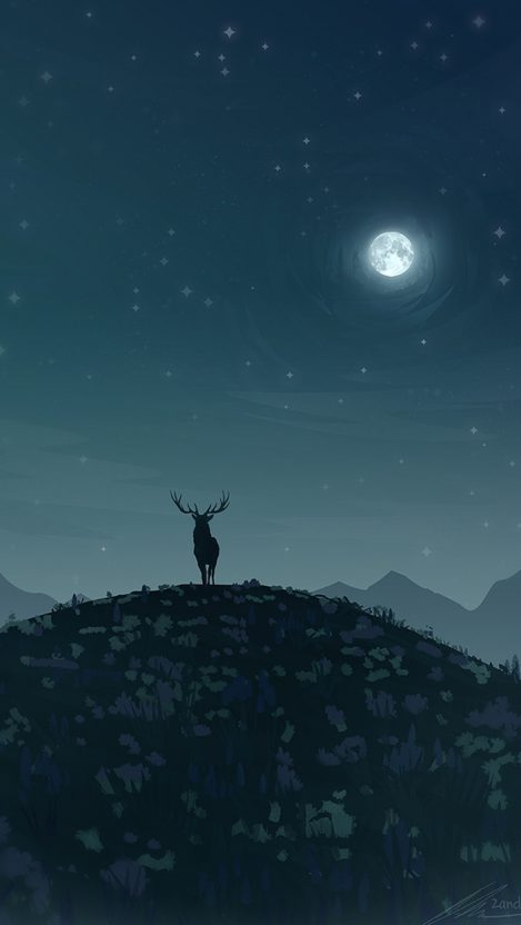 Adventure Time Wallpaper Hd Android Reindeer In Night Moon Iphone Wallpaper Iphone Wallpapers