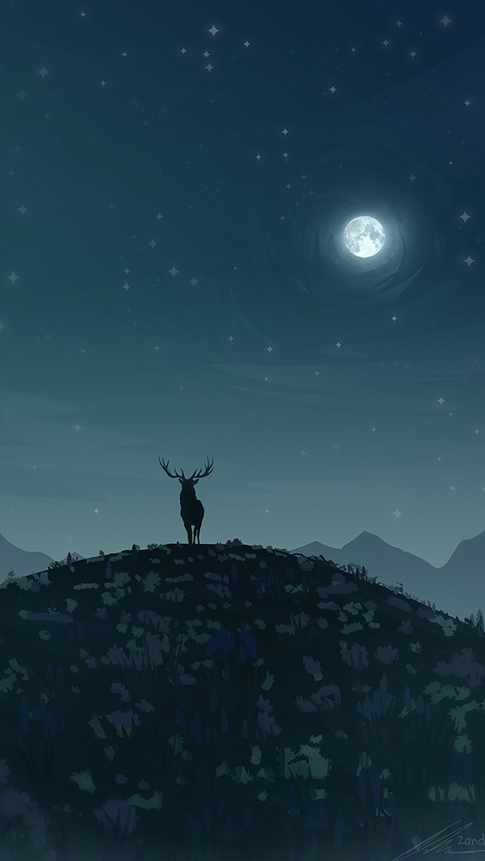 Reindeer Wallpaper Cute Reindeer In Night Moon Iphone Wallpaper Iphone Wallpapers