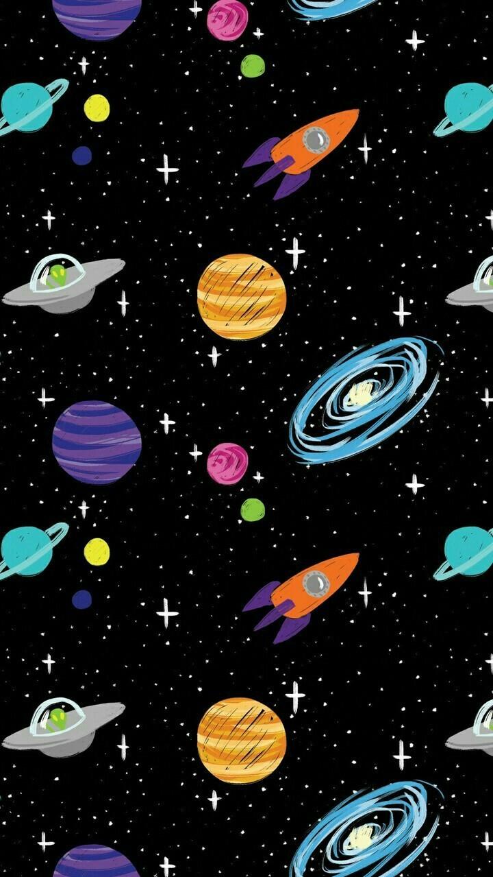 Cute Cartoon Face Wallpapers Space Cartoon Aliens Rocket Ships Planets Galaxy Iphone