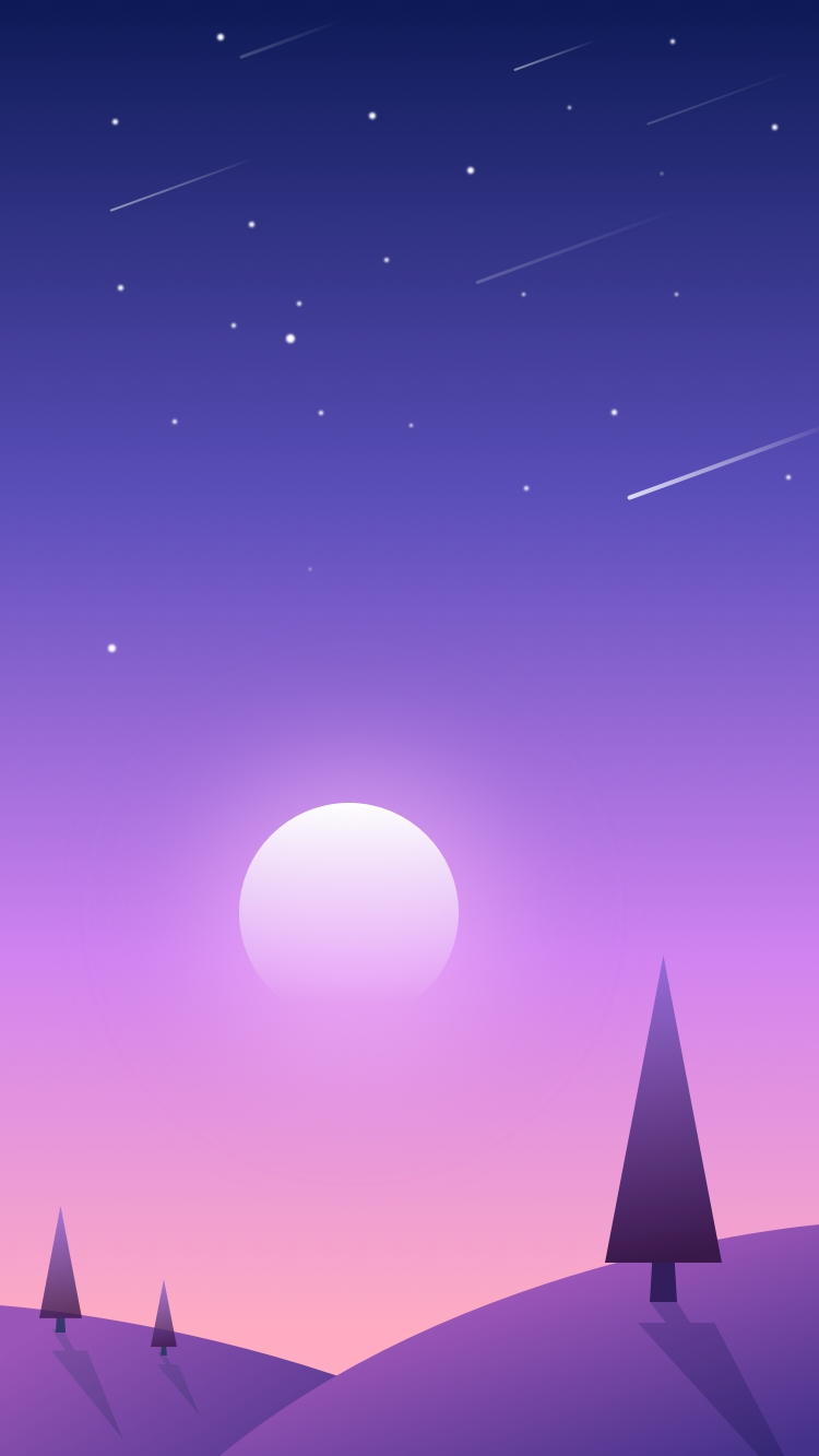 Cute Chinese Girls Wallpaper Sunset Scenery Sky Shooting Stars Iphone Wallpaper