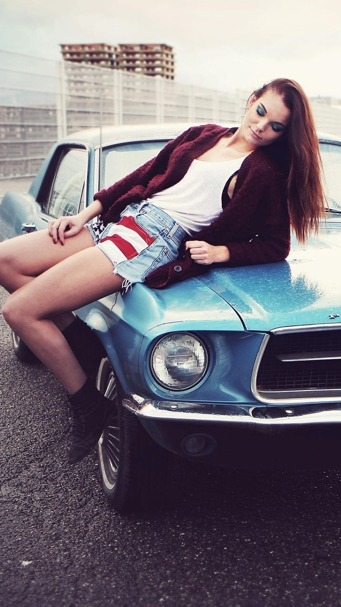 Space Girl Anime Wallpaper Classic Car Mustang With Girl Iphone Wallpaper Iphone