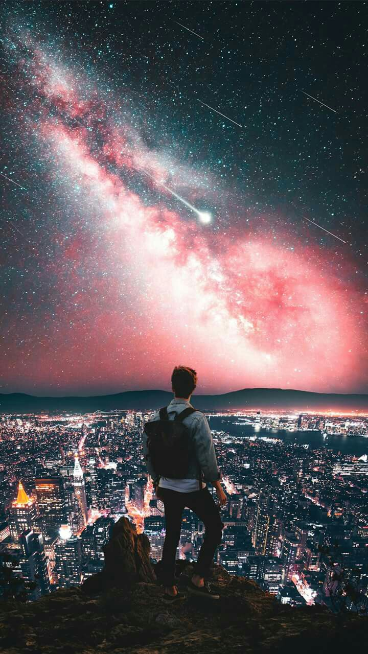 Central Park Iphone 6 Wallpaper Man On Mountain City Night Galaxy View Stars Iphone